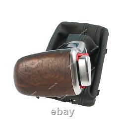 Auto Matt Wood Gear Shift Gaiter Knob Boot Leather For Audi 2012-2015 A6 C7 A7