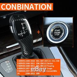 Carbon Fiber Automatic LED Shift Knob Gear Shifter For BMW E90 E92 E93 Part A+B