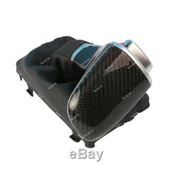 Carbon Fiber Gear Shift Knob Leather Boot For Audi A4 A5 Q5 10-15 Automatic LHD