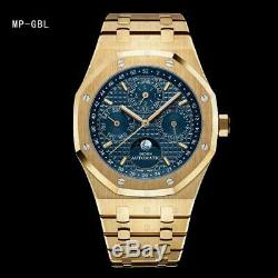 DIDUN Watch Mens Watches Top Automatic Gear S3 Gold Watch Waterproof Moonphase