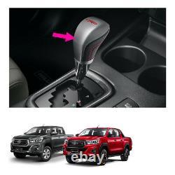 Gunuine Leather Gear Knob Automatic Silver Black For Toyota Hilux Revo 2015 2019