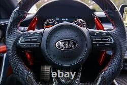 Red Carbon Steering Wheel Paddle Shifter Extension Covers For 18-up Kia Stinger