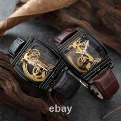 Transparent Automatic WristWatch Men Steampunk Skeleton Luxury Gear Self Winding